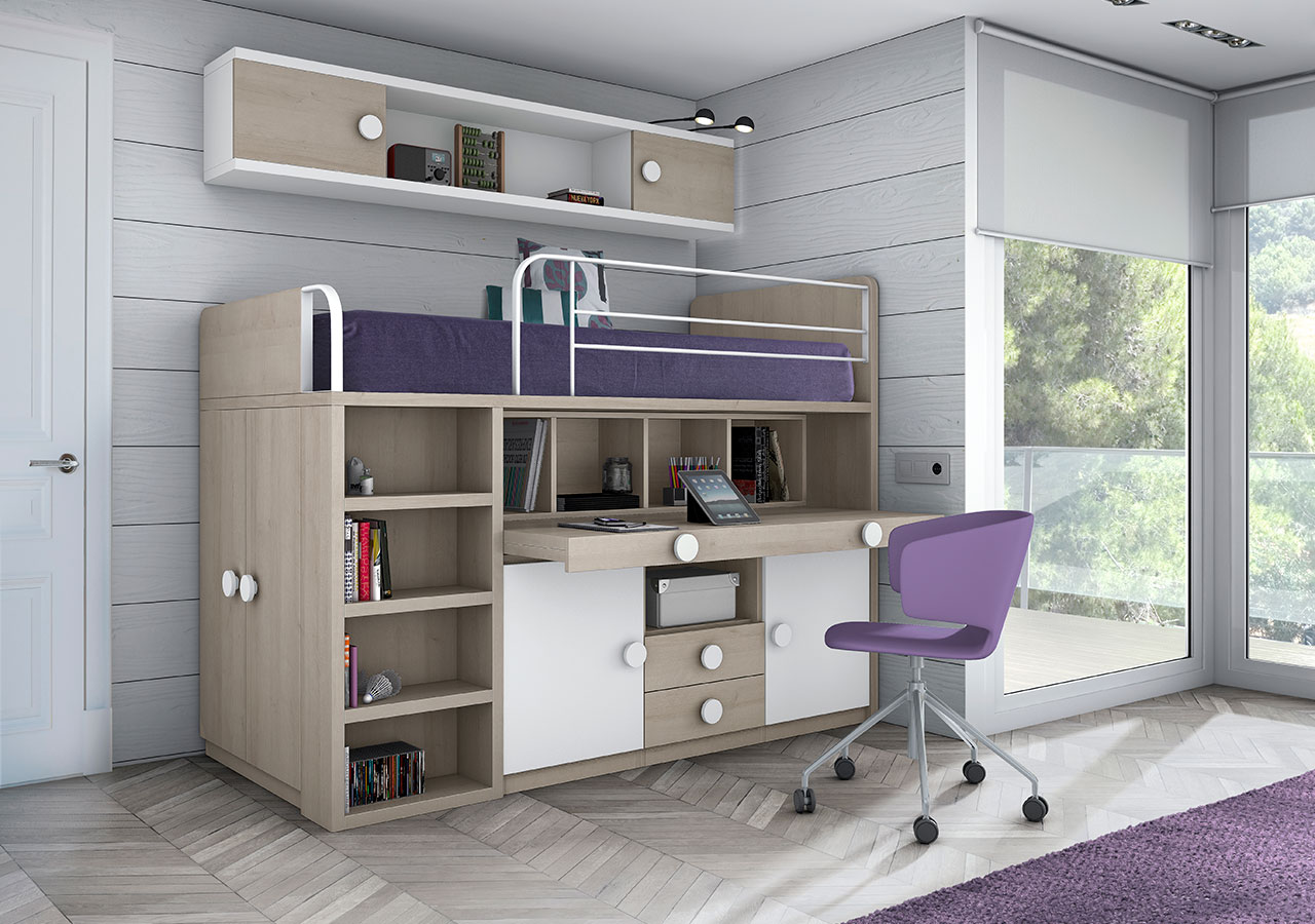 Con camas altas camas altas con armario debajo inspirador - Camas altas con armario debajo ...